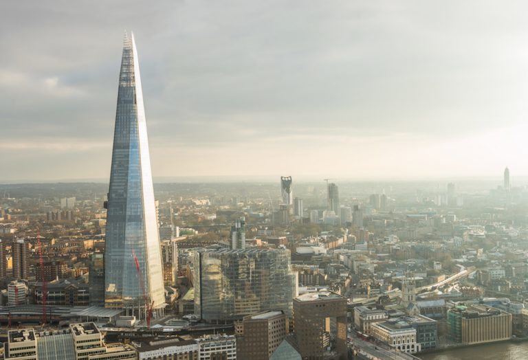 View of London skyline with The Shard